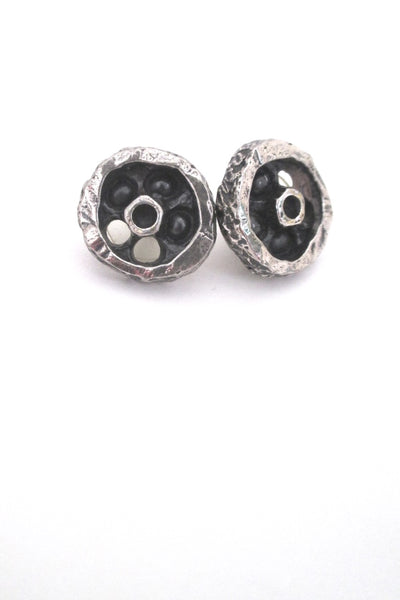 Guy Vidal Canada vintage pewter shadowbox circle post earrings