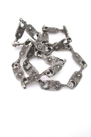 Guy Vidal Canada vintage brutalist pewter volcanoes long link chain