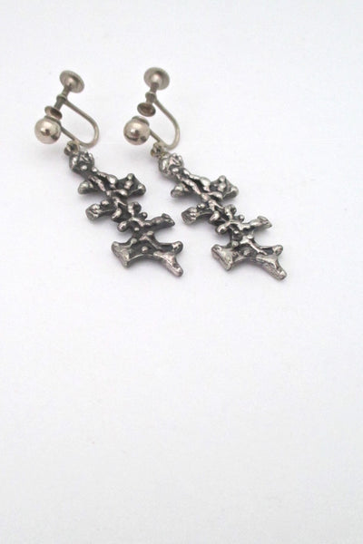 Guy Vidal Canada vintage brutalist pewter drop earrings # 2