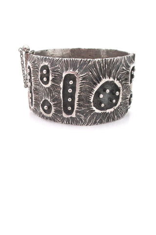 Guy Vidal Canada vintage brutalist pewter craters and posts hinged bracelet