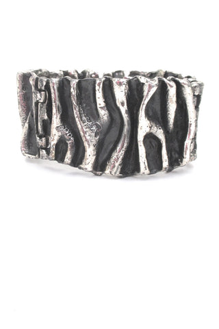 Guy Vidal Canada large brutalist pewter gathered folds hinged bracelet
