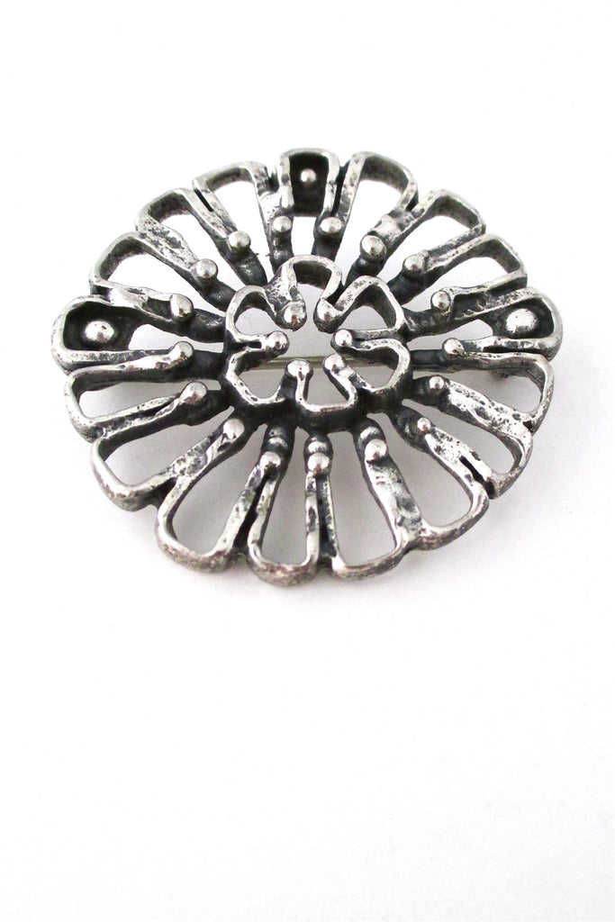 Guy Vidal Canada vintage brutalist pewter atomic daisy brooch