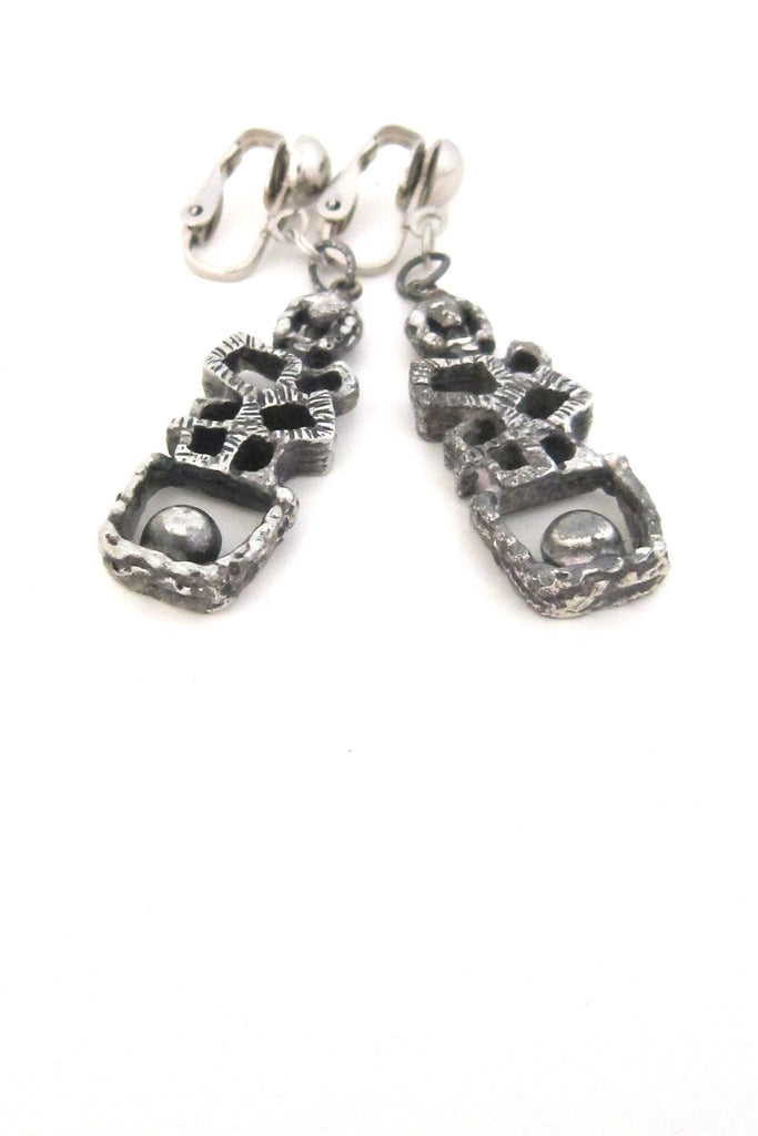 Guy Vidal Canada brutalist pewter ball on a ledge drop earrings