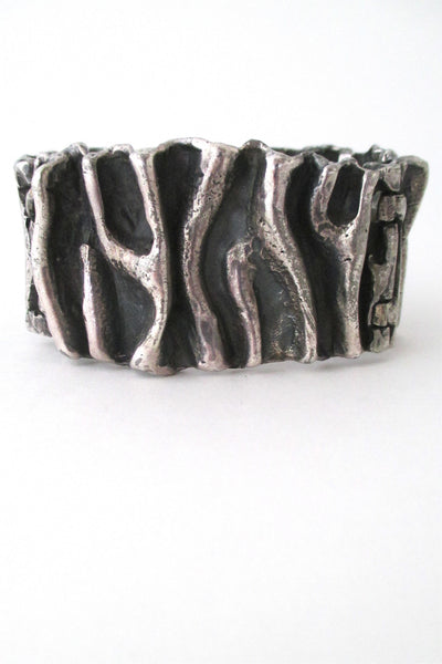 Guy Vidal Canada large brutalist pewter gathered folds bracelet