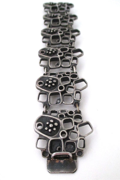 Guy Vidal Canada vintage brutalist pewter large windows & pods link bracelet