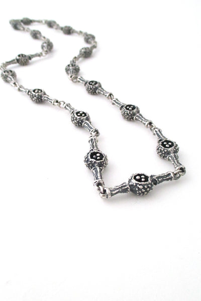 Guy Vidal Canada brutalist pewter pierced pods long link chain necklace