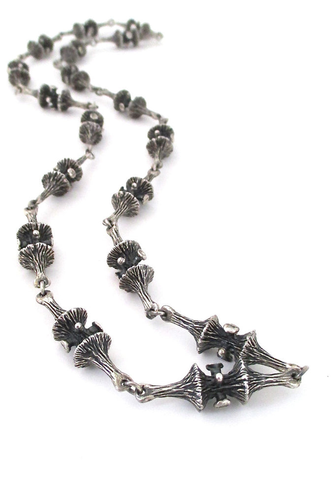 Guy Vidal Canada brutalist pewter long link trumpet lichen chain necklace