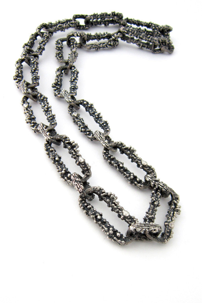 Guy Vidal Canada pewter necklace - large textured link chain