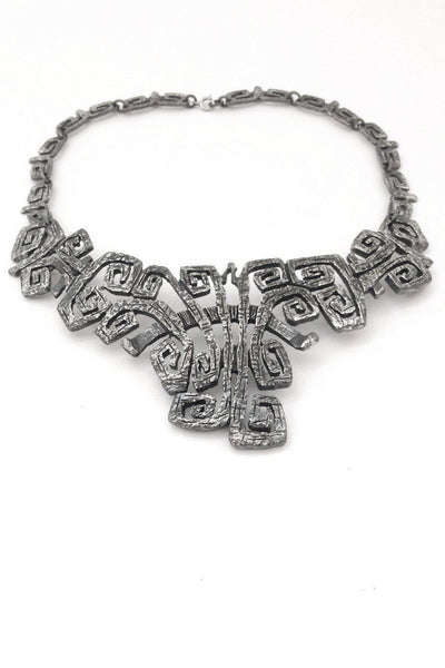 Guy Vidal Canada vintage brutalist pewter large bib necklace choker