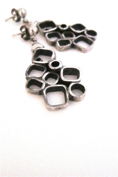 Guy Vidal Canada brutalist pewter circles and squares drop earrings