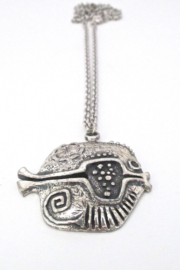 Guy Vidal Canada vintage brutalist pewter fish pendant necklace