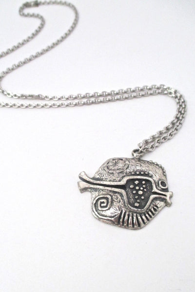 Guy Vidal Canada vintage brutalist pewter pierced fish pendant necklace