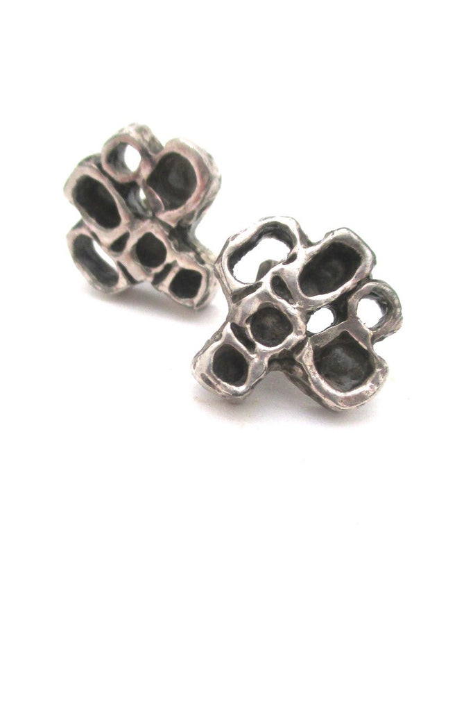 Guy Vidal Canada vintage brutalist pewter openwork squares pierced earrings