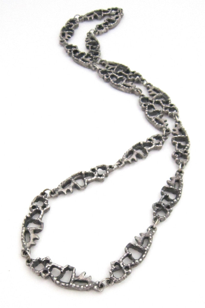 Guy Vidal brutalist openwork pewter necklace