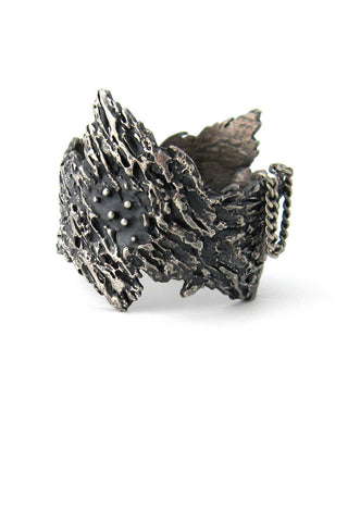 Guy Vidal, Canada pewter hinged bark bracelet