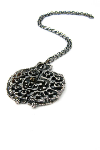 Guy Vidal Canada pewter necklace with bronze appliqué