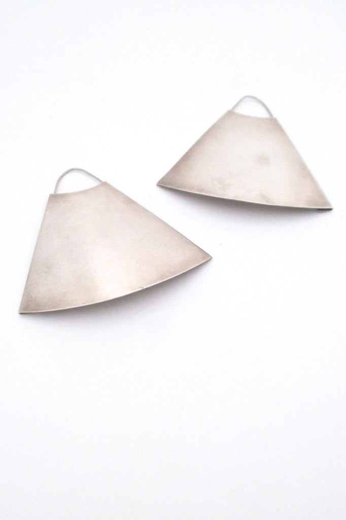 Hans Hansen Denmark large rare vintage silver mid century modern earrings Scandinavian Design
