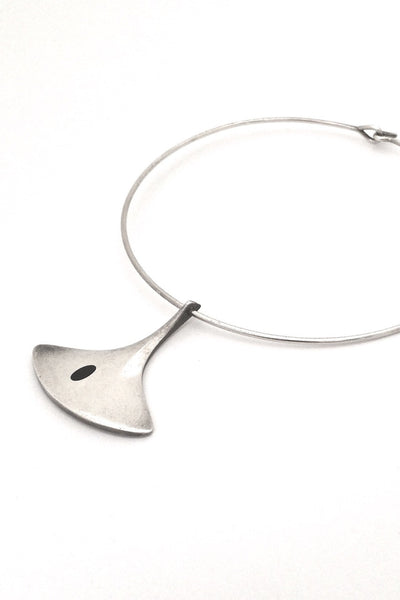 Hans Hansen Denmark vintage modernist Scandinavian silver pendant and neck ring by Bent Gabrielsen