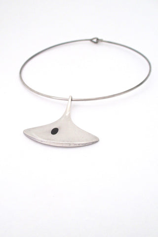Hans Hansen Denmark vintage modernist Scandinavian silver enamel pendant and neck ring by Bent Gabrielsen