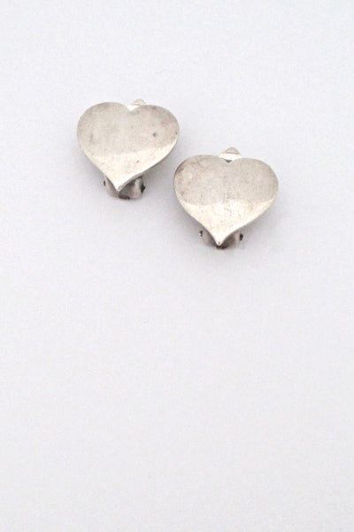 Hans Hansen Denmark vintage silver heart earrings ear clips