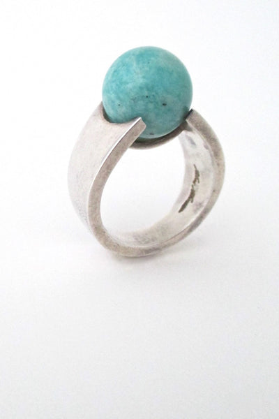 Hans Hansen Denmark vintage modernist sterling silver and amazonite ring
