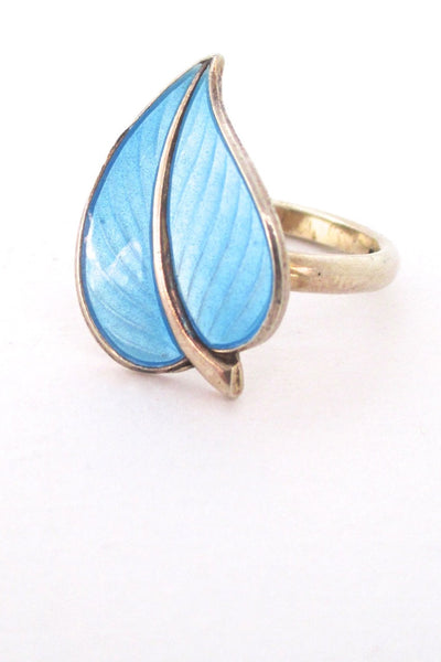 Hans Myhre Norway vintage mid century sterling and enamel leaf ring