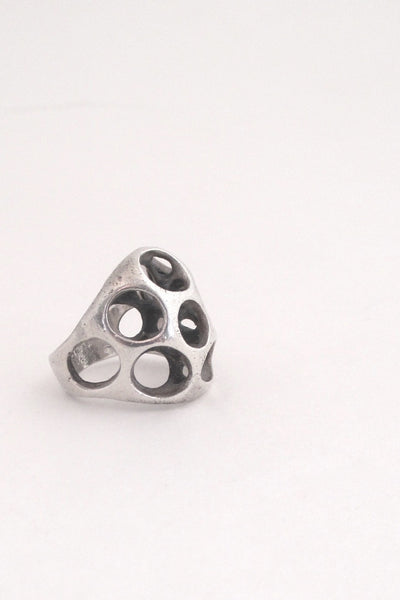 Sterling silver cast sculptural ring by American Modernist jeweller Henry Steig