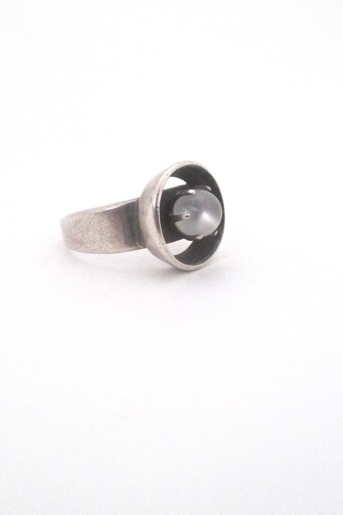 Henry Steig American Modernist mid century vintage silver moonstone ring