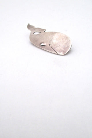 Henry Steig mid century modern vintage silver brooch of a whale