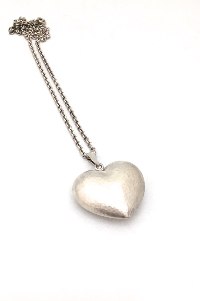 Hermann Siersbol Denmark vintage hammered silver heart pendant necklace