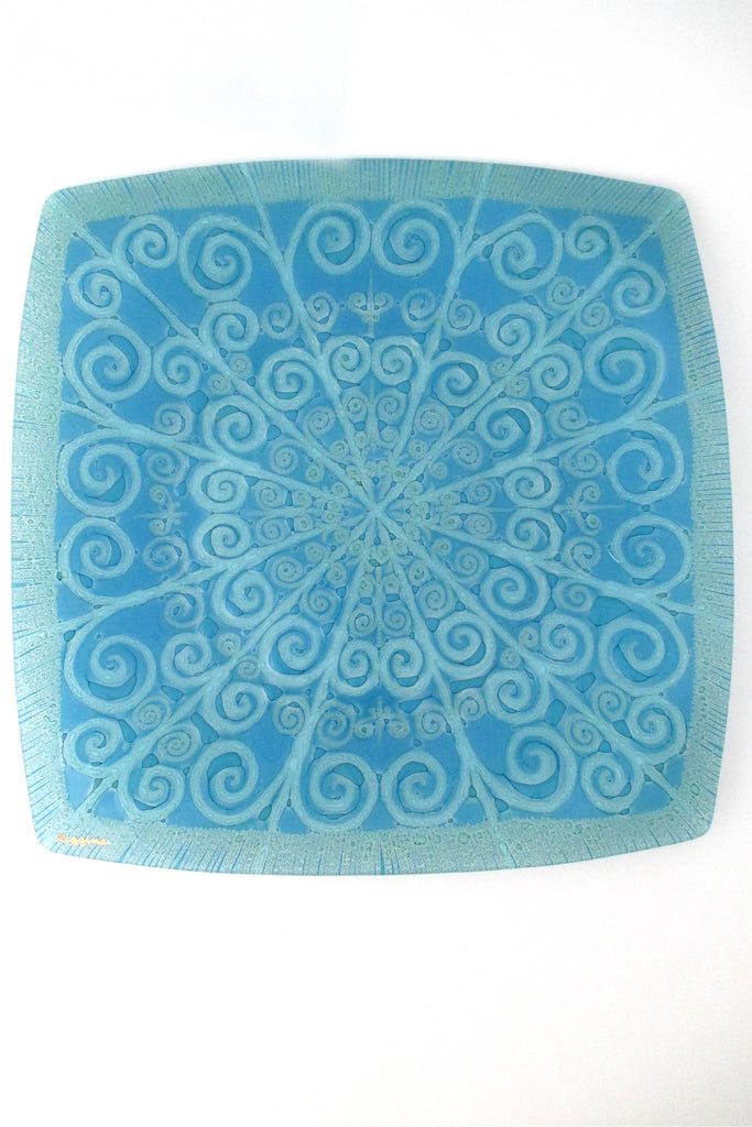 Higgins Glass USA modernist fused glass large serving tray plate charger signed