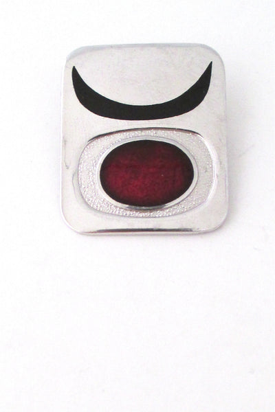 de Passille Sylvestre Canada vintage abstract red sun enamel brooch