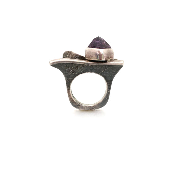 profile vintage large textured silver amethyst ring great facet to the stone studio made