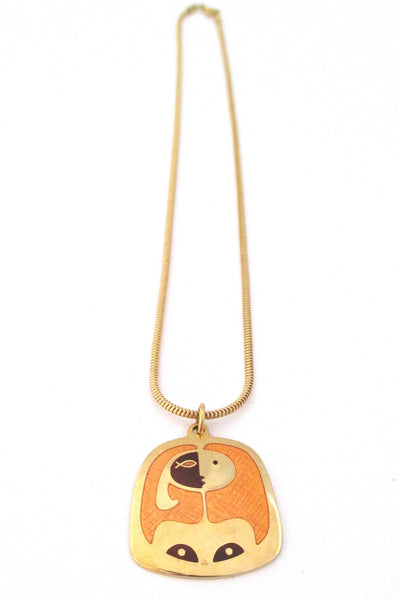 de Passille-Sylvestre Canada enamel abstract woman pendant necklace