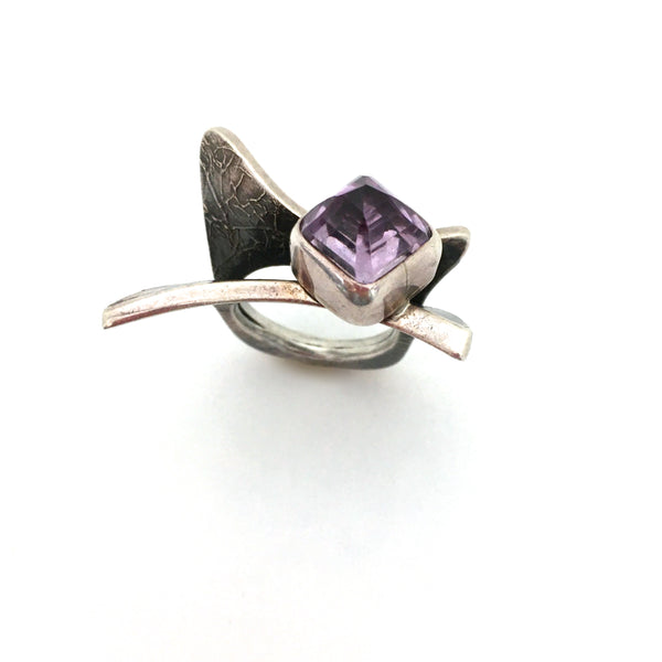 detail stone vintage large textured silver amethyst ring great facet to the stone studio made