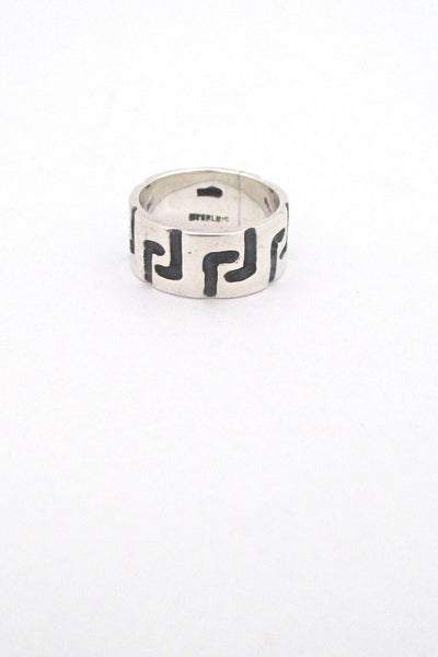 profile Robert Larin Canada vintage brutalist sterling silver textured band ring 3