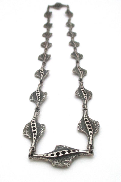 Guy Vidal Canada vintage brutalist pewter large link chain necklace at Samantha Howard Vintage