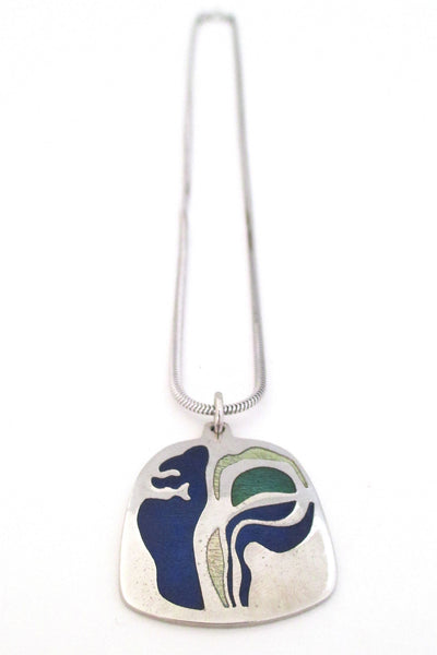 de Passille-Sylvestre Canada enamel abstract blues pendant necklace