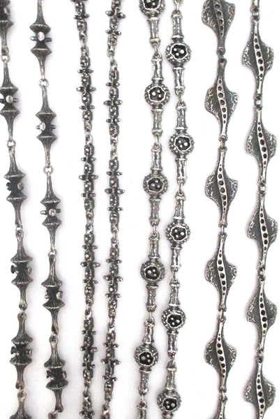 Guy_Vidal_Canada_vintage_brutalist_pewter_long_link_necklaces_at_Samantha_Howard_Vintage