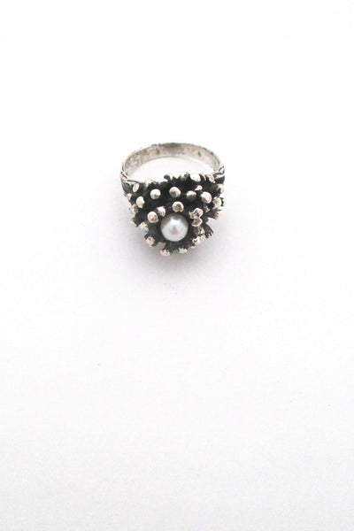 detail Robert Larin Canada vintage brutalist sterling silver and pearl cluster ring