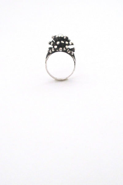 profile Robert Larin Canada vintage brutalist sterling silver and pearl cluster ring