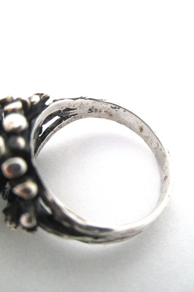 Robert Larin textured sterling & pearl cluster ring