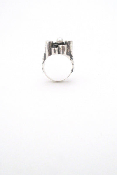 profile Robert Larin textured sterling & pearl sculptural ring