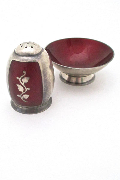 Volmer Bahner Denmark vintage sterling silver enamel salt and pepper set