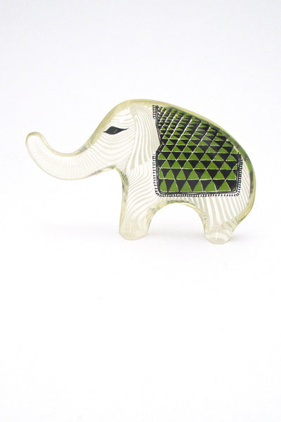 profile Abraham Palatnik Brazil vintage lucite green elephant sculpture two sided