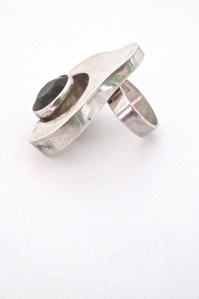 profile Salovaara Finland extra large vintage modernist ring in sterling silver and smoky quartz