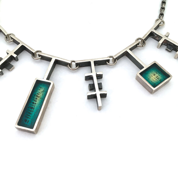 Bernard Chaudron sterling silver & aqua resin enamel necklace ~ rare