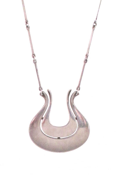 David-Andersen sleek silver pendant & long link chain