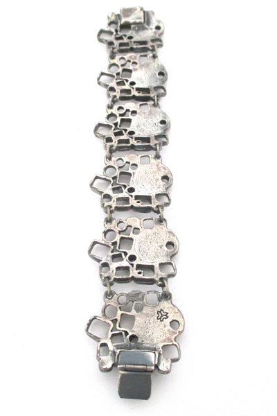Guy Vidal sculptural pewter 'windows & pods' link bracelet