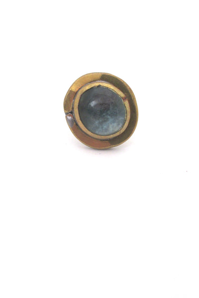 Rafael Canada brass & clear pale blue round ring